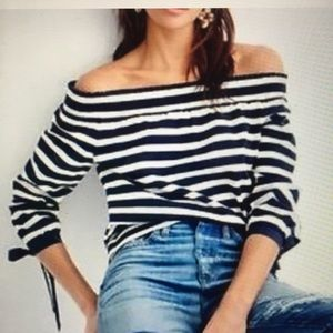 J. Cree Striped off the Shoulder Top Size L